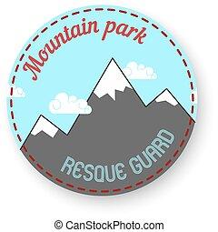 山, themed, 紋章, 屋外で