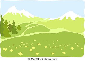 山, valley.