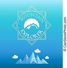 山, vector., emblem.