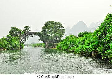 山, yangshuo, 桂林, リチウム, 風景, 川, karst