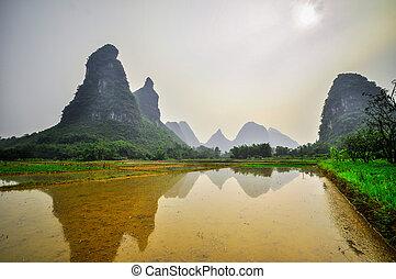 山, yangshuo, 桂林, 李の 川, 風景