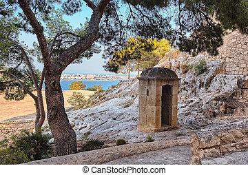 岗哨盒子, 在中, santa barbara, 城堡, alicante, 西班牙