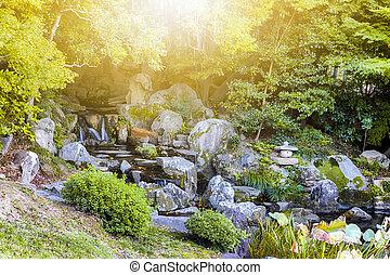 岡山, 伝統的である, korakuen の庭, japan., 日本語, 滝, 都市, ミニチュア