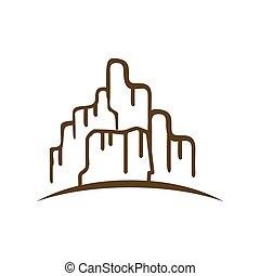 岩が多い, イラスト, 平ら, 壮大, 山, ロゴ, デザイン, ベクトル, シルエット, 峡谷