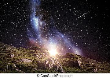 岩が多い, スペース, 上に, 空, 夜, ∥あるいは∥, 風景