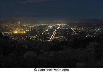 岩が多い, -, 南カリフォルニア, ピークに達しなさい, 夜, 光景