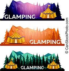 岩が多い, 夕方, glamping., 松, camp., campfire., camping., 魅力, 山。, 森林