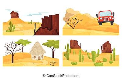 岩が多い 山, セット, 砂漠, 現場, カラフルである, ベクトル, 風景