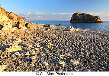岩が多い, 岩, 光景, 浜