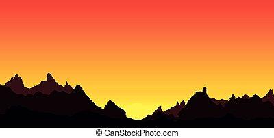 岩が多い, 日没, 背景, 山