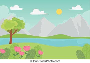 岩が多い, 木, 湖, 山, 風景, 群葉, 葉, 花, 草