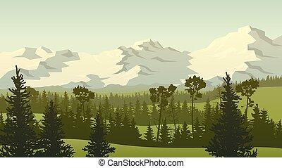 岩が多い, 森林, 山。, 牧草地, 緑丘, イラスト, 風景