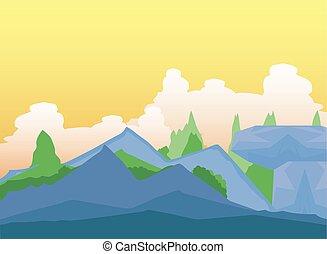 岩が多い, 森林, 草木の栽培場, 風景, 空, 雲, 山