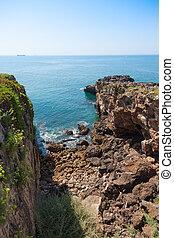 ∥, 岩が多い, 海岸線, の, cascais, 近くに, リスボン, 中に, portugal.