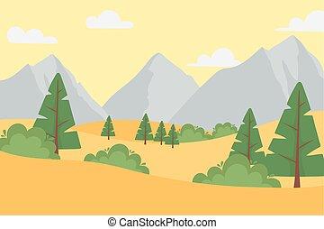 岩が多い, 雲, 地面, 乾燥している, 山, 風景, 木, 空