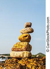 岩石, 上, the, 海岸, ......的, the, 海, 在, the, 自然