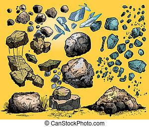岩石, 同时,, 石头