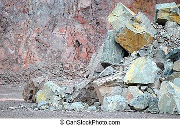 岩石, 在, a, 采石場, mine., 建設材料, 生產