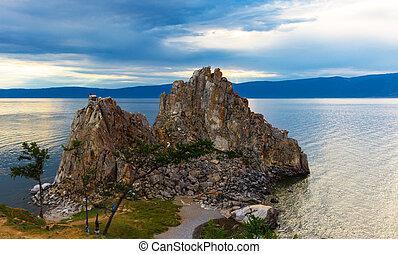 岩石, 湖, shamanka, baikal