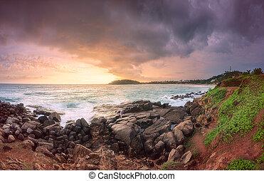 岩, トロピカル, 砂, 海洋, 海岸, 浜