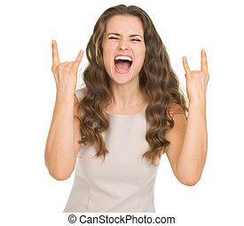 岩, 女, 若い, ジェスチャーで表現する
