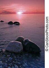 岩, 日没, 描かれる