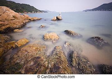 岩, 海岸, それ, 打撃, 広く