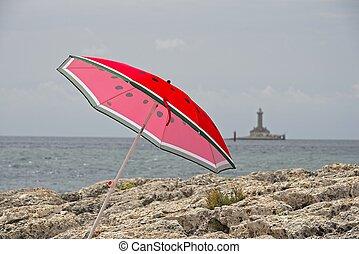 岸, 伞, 红海, 石头