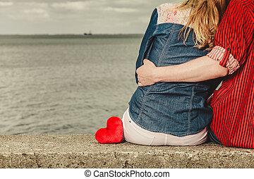 岸, 夫妇, 拥抱, 海, 坐