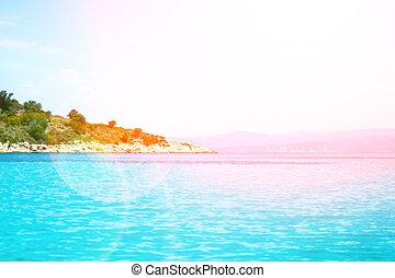 岸, 美丽, 背景, 海, 性质