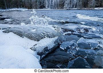 岸, finland, 冬天风景, 湖