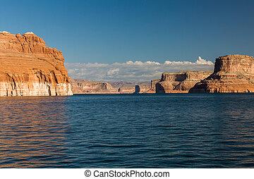 峡谷, ボート, ユタ, 湖, 峡谷, powell, 光景