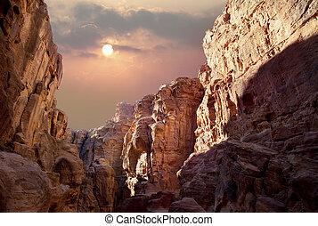 峡谷, 太陽, 上に
