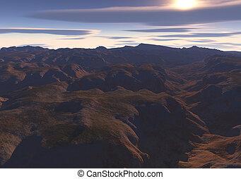 峡谷, 日没