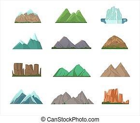 峰頂, 山, 鮮艷, 集合