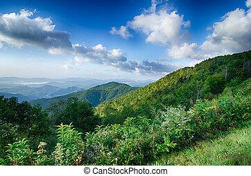 峰, 上に, 日の出, 青い山, 景色見落としなさい