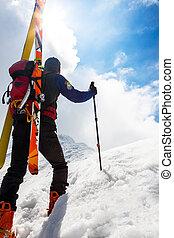 峰, 前方へ, 上へ歩く, 雪が多い, スキー, s, 急, 登山家