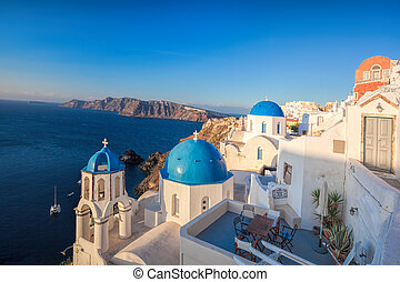 島, ギリシャ, santorini, oia, 村