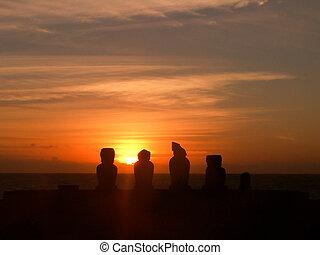島, シルエット, 日没, moai, イースター