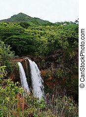 島, ハワイ, 滝, 落ちる, 段になった, wailua, kauai