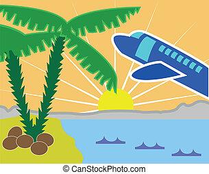 島, ビーチ休日, トロピカル