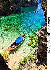 島, ボート, 海, タイ, 南, 光景
