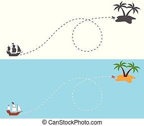 島, ルート, 船, 航海, 海賊