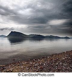 島, 上に, 雲, 嵐, 海