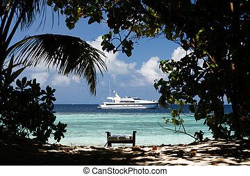 島, 光景, ボート, 海洋