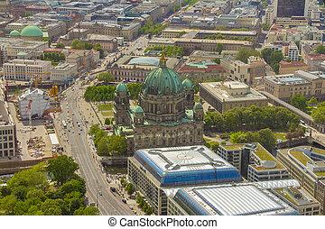 島, 博物館, 航空写真, ベルリン, 光景