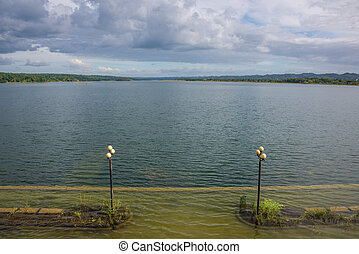 島, 国民, 湖, flores, guatemala., 光景, tikal, park.