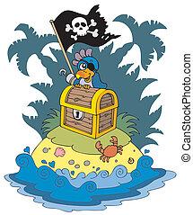 島, 宝物, 海賊, オウム