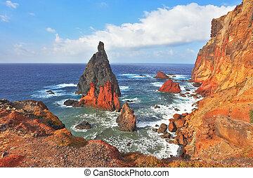 島, 崖, カラフルである, 絵のよう