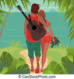 島, 恋人, ロマンチック, 抱擁